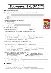 English Worksheets: Bookquest ENJOY 3�me