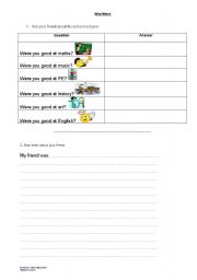 English worksheet: Was/Were