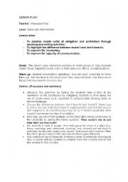 English Worksheet: Modal verbs of obligation and prohibition in daily lifes