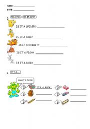 English Worksheets: Is it a ...?, what�s this?, Pets (domestic animals), School objects