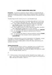 English Worksheets: 3 Step Character Analysis