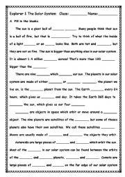 English Worksheets: Solor System