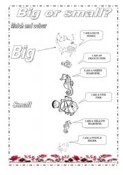 English Worksheets: Big or smalll and sea animals for the little ones