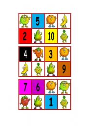Bingo - Fruits, colours and numbers