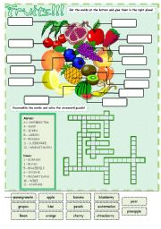 English Worksheet: Fruits - cut and paste + crosswords