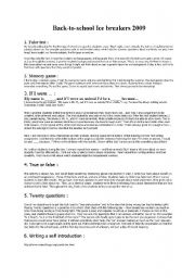 English Worksheet: Ice breakers which work!