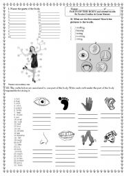 English Worksheets: Parts of the body and related words