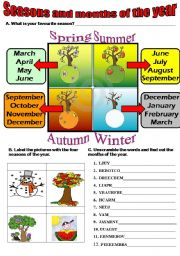 English Worksheet: Seasons and months of the year