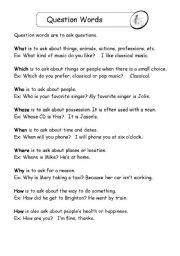 English Worksheets: question words handout and practice