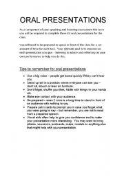 English Worksheet: Oral Presentation Outline