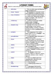literary terms esl worksheet by pirchy. Black Bedroom Furniture Sets. Home Design Ideas