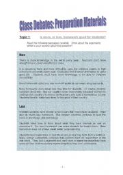 English Worksheets: Classroom Debates: Preparation Materials