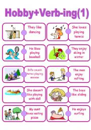 English Worksheets: Hobby+Verb -ing
