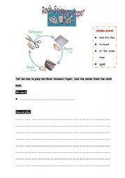 English Worksheets: Rock-Scissors-Paper Game -- Writing Exercise