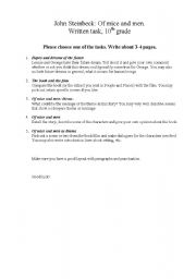 English Worksheets: Of Mice and Men Writing