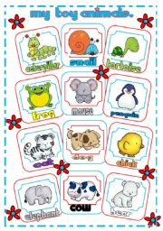 English Worksheets: My toy animals pictionary