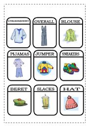 English Worksheets: CLOTHES - MEMORY GAME 1/2