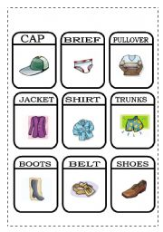 English Worksheets: CLOTHES - MEMORY GAME 2/2