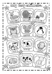 English Worksheets: My toy animals pictionary (B & W  version)