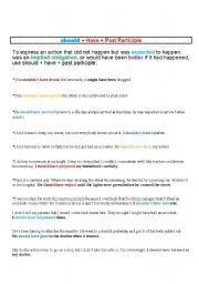 English Worksheet: Should have done