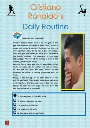 English Worksheet: Cristiano Ronaldo´s Daily Routine