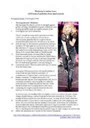 English Worksheets: madonna�s carbon tour