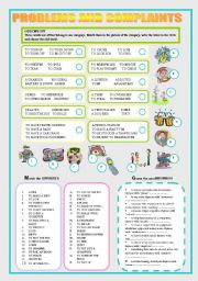 English Worksheet: EVERYDAY PROBLEMS AND COMPLAINTS - speaking and vocabulary exercises