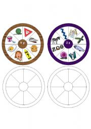 English Worksheets: Letter Wheels Y and Z Part 5 of a set of 5 (One wheel for each letter of the alphabet)