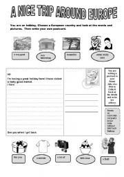 English Worksheet: A NICE TRIP AROUND EUROPE 2 / 3
