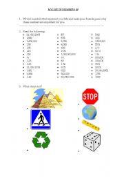 English worksheet: Maths in English