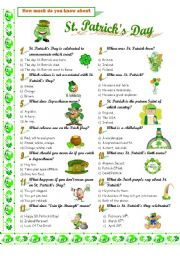 picture relating to St Patrick Day Trivia Questions and Answers Printable identified as SAINT PATRICK´S Working day. - ESL worksheet via LUCETTA06