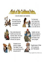 English Worksheet: Pirates of the Caribbean Verbs and Adverbs