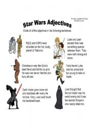 English Worksheet: Star Wars Adjectives