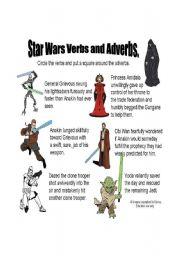 English Worksheet: Star Wars Verbs and Adverbs Sheet