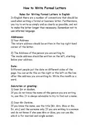Writing Formal Letters Worksheets Students