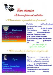 English Worksheets: Two classics : a horror film ad a thriller