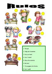 English Worksheet: RULES_ AND CLASSROOM ACTIONS