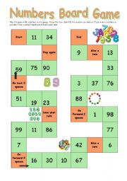 numbers board game - ESL worksheet by Ana B