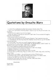 English Worksheets: READING COMPREHENSION & ORAL SKILL  : quotations by Groucho Marx