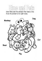 English Worksheets: Elmo and Pets