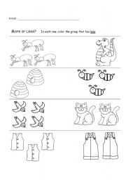 English Worksheet: Compare and color worksheet - Animal