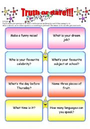 English Worksheet: Truth or dare!!!