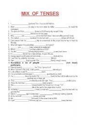 MIX  OF TENSES 30 sentences