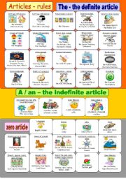 English Worksheet: Articles - rules