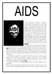 English Worksheets: AIDS - Reading comprehension (three pages)