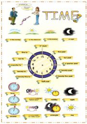 English Worksheet: Telling the time + time concepts + prepositions of time