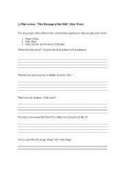 English Worksheet: A Film review: �The Revenge of the Sith� (Star Wars)
