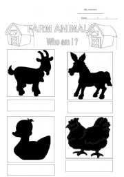 English Worksheets: farm animals 1