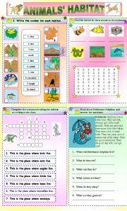 English Worksheets: habitat of animals