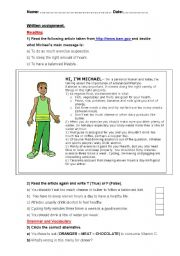 English Worksheets: A healthy lifestyle - Test